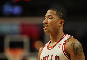 CHICAGO, IL - MARCH 05: Derrick Rose #1 of the Chicago Bulls waits for a teammate to shoot a free-throw against the Indiana Pacers at the United Center on March 5, 2012 in Chicago, Illinois. The Bulls defeated the Pacers 92-72. NOTE TO USER: User expressl