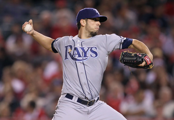 ANAHEIM, CA - JUNE 08:  James Shields #33 of the Tampa Bay Rays pitches against the Los Angeles Angels of Anaheim at Angel Stadium of Anaheim on June 8, 2011 in Anaheim, California.  (Photo by Jeff Gross/Getty Images)
