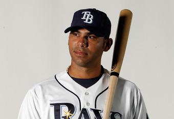 PORT CHARLOTTE, FL - FEBRUARY 29:  Carlos Pena #23 of the Tampa Bay Rays poses for a portrait at the Charlotte Sports Park on February 29, 2012 in Port Charlotte, Florida.(Photo by Jonathan Ferrey/Getty Images)