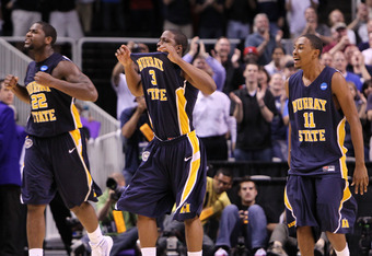 SAN JOSE, CA - MARCH 18:  Jeffery McClain #22, Isaiah Canaan #3 and Donte Poole #11 of the Murray State Racers celebrate after defeating the Vanderbilt Commodores 66-65 in the first round of the 2010 NCAA men's basketball tournament at HP Pavilion on Marc