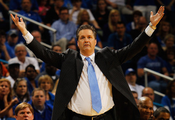 NEW ORLEANS, LA - MARCH 11:  Head coach John Calipari of the Kentucky Wildcats reacts in the second half against the Vanderbilt Commodores during the championship game of the 2012 SEC Men's Basketball Tournament at New Orleans Arena on March 11, 2012 in N