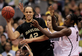 SAN ANTONIO - APRIL 04:  (L-R) Brittney Griner #42 of the Baylor Bears is pressured by Caroline Doty #5 and Tina Charles #31 of the Connecticut Huskies in the second half during the Women's Final Four Semifinals at the Alamodome on April 4, 2010 in San An