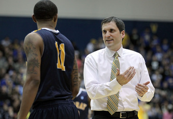 MOREHEAD, KY - JANUARY 18:  Steve Prohm the head coach of the Murray State Racers gives instructions to Donte Poole #11 during the OVC game against the Morehead State Eagles at Johnson Arena on January 18, 2012 in Morehead, Kentucky.  (Photo by Andy Lyons