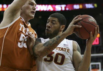 KANSAS CITY, MO - MARCH 08:  Royce White #30 of the Iowa State Cyclones drives to the basket against Clint Chapman #53 of the Texas Longhorns during the quarterfinals of the Big 12 Basketball Tournament March 8, 2012 at Sprint Center in Kansas City, Misso