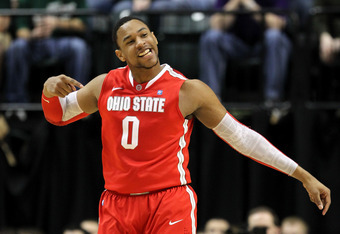 INDIANAPOLIS, IN - MARCH 11:  Jared Sullinger #0 of the Ohio State Buckeyes reacts against the Michigan State Spartans during the Final Game of the 2012 Big Ten Men's Conference Basketball Tournament at Bankers Life Fieldhouse on March 11, 2012 in Indiana