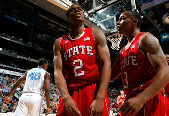 ATLANTA, GA - MARCH 10:  Lorenzo Brown #2 of the North Carolina State Wolfpack reacts after being called for a foul in the game against the North Carolina Tar Heels during the semifinals of the 2012 ACC Men's Basketball Conference Tournament at Philips Ar