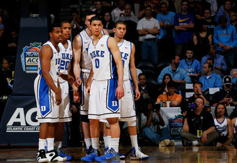 ATLANTA, GA - MARCH 10:  Austin Rivers #0 of the Duke Blue Devils and his teammates react in the second half against the Florida State Seminoles during the semifinals of the 2012 ACC Men's Basketball Conferene Tournament at Philips Arena on March 10, 2012