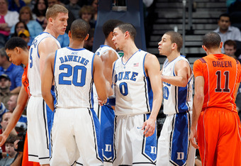 ATLANTA, GA - MARCH 09:  (L-R) Mason Plumlee #5, Andre Dawkins #20, Austin Rivers #0 and Seth Curry #30 of the Duke Blue Devils huddle up against the Virginia Tech Hokies in their Quarterfinal game of the 2012 ACC Men's Basketball Conferene Tournament at