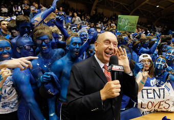 DURHAM, NC - MARCH 03:  ESPN basketball analyst Dick Vitale reports from the sidelines before the Duke Blue Devils against the North Carolina Tar Heels at Cameron Indoor Stadium on March 3, 2012 in Durham, North Carolina.  (Photo by Streeter Lecka/Getty I