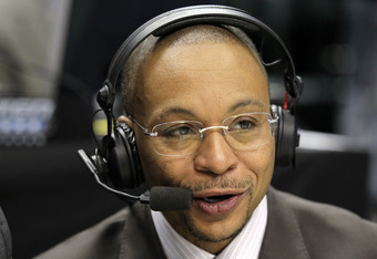 INDIANAPOLIS, IN - MARCH 10:  Big Ten Network announcer Gus Johnson calls the game between the Penn State Nittany Lions and the Indiana Hoosiers during the first round of the 2011 Big Ten Men's Basketball Tournament at Conseco Fieldhouse on March 10, 2011