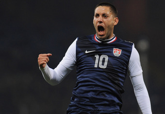 GENOA, ITALY - FEBRUARY 29:  Clint Dempsey of USA celebrates scoring the winning goal during the international friendly match between Italy and USA at Luigi Ferraris Stadium on February 29, 2012 in Genoa, Italy.  (Photo by Valerio Pennicino/Getty Images)
