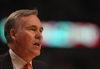 CHICAGO, IL - MARCH 12:  Head coach Mike D'Antoni of the New York Knicks watches as his team takes on the Chicago Bulls at the United Center on March 12, 2012 in Chicago, Illinois. The Bulls defeated the Knicks 104-99. NOTE TO USER: User expressly acknowl