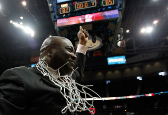 ATLANTA, GA - MARCH 11:  Head coach Leonard Hamilton of the Florida State Seminoles celebrates after they won 85-82 against the North Carolina Tar Heels during the Final Game of the 2012 ACC Men's Basketball Conference Tournament at Philips Arena on March