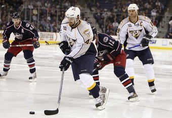 COLUMBUS - JANUARY 12:  Alexander Radulov #47 of the Nashville Predators controls the puck during the NHL game against the Columbus Blue Jackets at the Nationwide Arena on January 12, 2008 in Columbus, Ohio. (Photo by Gregory Shamus/Getty Images)