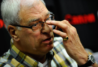 EL SEGUNDO, CA - MAY 11:  Former coach of the Los Angeles Lakers Phil Jackson during a news conference at the Lakers training facility on May 11, 2011 in El Segundo, California. The Lakers were swept out of their best of seven series with the Dallas Maver