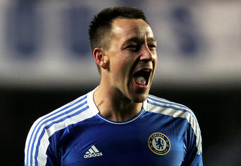LONDON, ENGLAND - MARCH 14:  John Terry of Chelsea celebrates his team's victory after the final whistle during the UEFA Champions League round of 16 second leg match between Chelsea FC and SSC Napoli Stamford Bridge on March 14, 2012 in London, England.