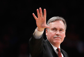 LOS ANGELES, CA - DECEMBER 29:  New York Knicks head coach Mike D'Antoni gestures during the second half against the Los Angeles Lakers at Staples Center on December 29, 2011 in Los Angeles, California. NOTE TO USER: User expressly acknowledges and agrees