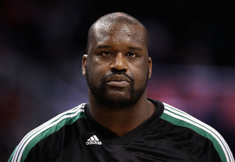 PHOENIX, AZ - JANUARY 28:  Shaquille O'Neal #36 of the Boston Celtics warm up before the NBA game against the Phoenix Suns at US Airways Center on January 28, 2011 in Phoenix, Arizona. The Suns defeated the Celtics 88-71. NOTE TO USER: User expressly ackn
