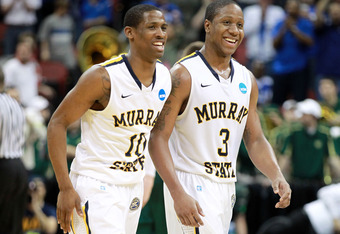 LOUISVILLE, KY - MARCH 15:  Zay Jackson #10 and Isaiah Canaan #3 of the Murray State Racers reacts towards teh end of the game against the Colorado State Rams during the second round of the 2012 NCAA Men's Basketball Tournament at KFC YUM! Center on March