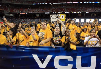 HOUSTON, TX - APRIL 02:  Fans in the Virginia Commonwealth Rams student section cheer before the National Semifinal game of the 2011 NCAA Division I Men's Basketball Championship against the Butler Bulldogs at Reliant Stadium on April 2, 2011 in Houston,