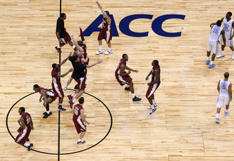 ATLANTA, GA - MARCH 11:  The Florida State Seminoles celebrate after they won 85-82 against the North Carolina Tar Heels during the Final Game of the 2012 ACC Men's Basketball Conference Tournament at Philips Arena on March 11, 2012 in Atlanta, Georgia. (