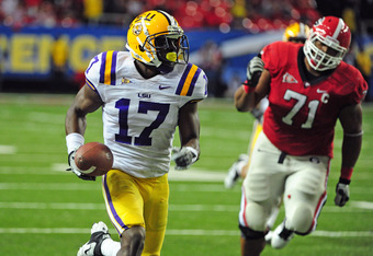 ATLANTA, GA - DECEMBER 3: Morris Claiborne #17 of the LSU Tigers returns an interception for a touchdown against the Georgia Bulldogs during the SEC Championship Game at the Georgia Dome on December 3, 2011 in Atlanta, Georgia.  (Photo by Scott Cunningham