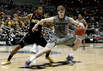 PITTSBURGH, PA - MARCH 15:  Will Spradling #55 of the Kansas State Wildcats dribbles the ball against the Southern Miss Golden Eagles during the second round of the 2012 NCAA Men's Basketball Tournament at Consol Energy Center on March 15, 2012 in Pittsbu