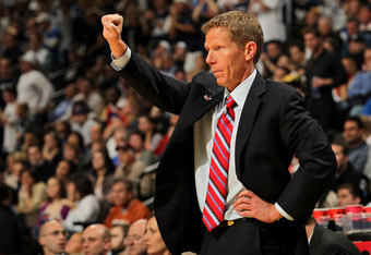 DENVER, CO - MARCH 19:  Head coach Mark Few of the Gonzaga Bulldogs gestures from the bench against the Brigham Young Cougars during the third round of the 2011 NCAA men's basketball tournament at Pepsi Center on March 19, 2011 in Denver, Colorado.  (Phot