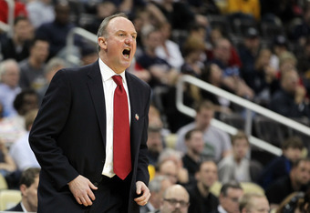 PITTSBURGH, PA - MARCH 15:  Head coach Thad Matta of the Ohio State Buckeyes reacts during the second round of the 2012 NCAA Men's Basketball Tournament against the Loyola Greyhounds at Consol Energy Center on March 15, 2012 in Pittsburgh, Pennsylvania.