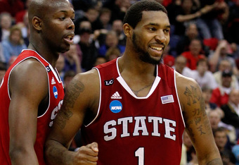 COLUMBUS, OH - MARCH 16: Richard Howell #1 of the North Carolina State Wolfpack celebrates after being fouled with teammate DeShawn Painter #0 in the second half against the San Diego State Aztecs during the second round of the 2012 NCAA Men's Basketball