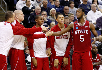 COLUMBUS, OH - MARCH 16: C.J. Leslie #5 of the North Carolina State Wolfpack is congratulated by teammates after exiting the game against the San Diego State Aztecs late in the second half during the second round of the 2012 NCAA Men's Basketball Tourname