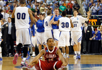 GREENSBORO, NC - MARCH 16:  Trevor Releford #12 of the Alabama Crimson Tide reacts after losing to the Creighton Bluejays during the second round of the 2012 NCAA Men's Basketball Tournament at Greensboro Coliseum on March 16, 2012 in Greensboro, North Ca