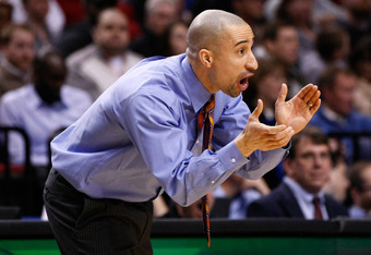 PORTLAND, OR - MARCH 15:  Head coach Shaka Smart of the Virginia Commonwealth Rams reacts in the second half while taking on the Wichita State Shockers in the second round of the 2012 NCAA men's basketball tournament at Rose Garden Arena on March 15, 2012