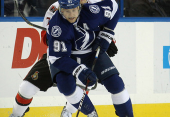 TAMPA, FL - MARCH 06:  Steven Stamkos #91 of the Tampa Bay Lightning skates against the Ottawa Senators at the Tampa Bay Times Forum on March 6, 2012 in Tampa, Florida.  (Photo by Bruce Bennett/Getty Images)