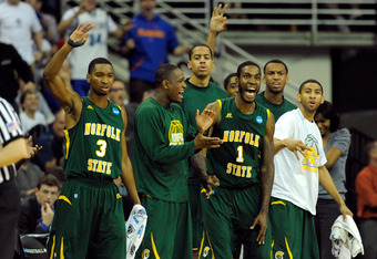 OMAHA, NE - MARCH 16:  Jamel Fuentes #3 and Rob Johnson #1 of the Norfolk State Spartans react on the bench along with thier teammates late in the second half against the Missouri Tigers during the second round of the 2012 NCAA Men's Basketball Tournament
