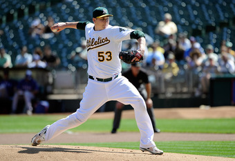 OAKLAND, CA - SEPTEMBER 22: Trevor Cahill #53 of the Oakland Athletics pitches against the Texas Rangers during an MLB baseball game at O.co Coliseum on September 22, 2011 in Oakland, California.  (Photo by Thearon W. Henderson/Getty Images)