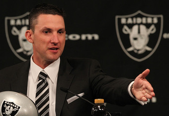 ALAMEDA, CA - JANUARY 30:  New Oakland Raiders head coach Dennis  Allen speaks to reporters during a press conference on January 30, 2012 in Alameda, California. Dennis Allen was introduced as the new coach of the Oakland Raiders, replacing Hue Jackson wh