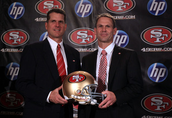 49ers' Jim Harbaugh and Trent Baalke