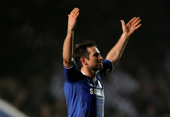 LONDON, ENGLAND - MARCH 14:  Frank Lampard of Chelsea celebrates his team's victory after the final whistle during the UEFA Champions League round of 16 second leg match between Chelsea FC and SSC Napoli Stamford Bridge on March 14, 2012 in London, Englan