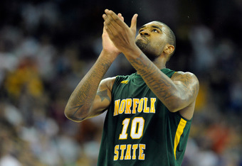 OMAHA, NE - MARCH 16:  Kyle O'Quinn #10 of the Norfolk State Spartans reacts against the Missouri Tigers during the second round of the 2012 NCAA Men's Basketball Tournament at CenturyLink Center on March 16, 2012 in Omaha, Nebraska.  (Photo by Eric Franc