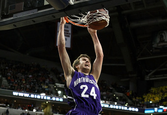 INDIANAPOLIS, IN - MARCH 11:  John Shurna #24 of the Northwestern Wildcats dunks against the Ohio State Buckeyes during the quarterfinals of the 2011 Big Ten Men's Basketball Tournament at Conseco Fieldhouse on March 11, 2011 in Indianapolis, Indiana.  (P