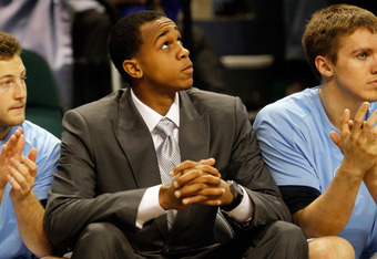 GREENSBORO, NC - MARCH 16:  John Henson #31 of the North Carolina Tar Heels looks on from the bench against the Vermont Catamounts during the second round of the 2012 NCAA Men's Basketball Tournament at Greensboro Coliseum on March 16, 2012 in Greensboro,