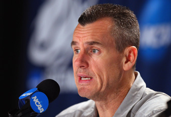 OMAHA, NE - MARCH 15:  Head coach Billy Donovan of the Florida Gators addresses the media during a press conference prior to facing the Virginia Cavaliers in the second round of the NCAA Men's Basketball Tournament at CenturyLink Center on March 15, 2012