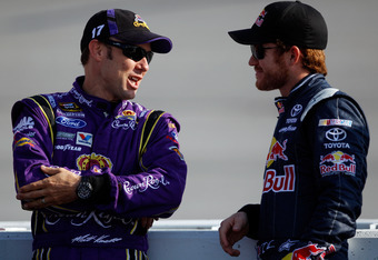 Kenseth (left) and Vickers (right) amicably discussing who knows what before things turned sour between them.