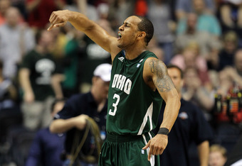 NASHVILLE, TN - MARCH 16:  Walter Offutt #3 of the Ohio Bobcats celebrates after defeating the Michigan Wolverines during the second round of the 2012 NCAA Men's Basketball Tournament at Bridgestone Arena on March 16, 2012 in Nashville, Tennessee.  (Photo