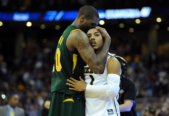 OMAHA, NE - MARCH 16:  Phil Pressey #1 (L) of the Missouri Tigers is consoled by Kyle O'Quinn #10 of the Norfolk State Spartans after Pressey missed a potential go ahead basket at the buzzer of their 86-84 loss during the second round of the 2012 NCAA Men