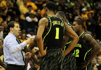 KANSAS CITY, MO - MARCH 10:  Head coach Scott Drew talks to Perry Jones III #1, Quincy Acy #4 and A.J. Walton #22 of the Baylor Bears in the second half of their game against the Missouri Tigers during the championship game of the 2012 Big 12 Men's Basket