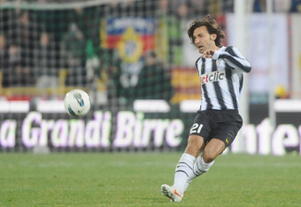 BOLOGNA, ITALY - MARCH 07: Andrea Pirlo # 21 of Juventus FC in action  during the Serie A match between Bologna FC and Juventus FC at Stadio Renato Dall'Ara on March 7, 2012 in Bologna, Italy.  (Photo by Mario Carlini / Iguana Press/Getty Images)