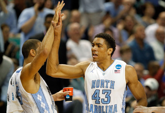GREENSBORO, NC - MARCH 16:  James Michael McAdoo #43 of the North Carolina Tar Heels celebrates after a dunk against the Vermont Catamounts during the second round of the 2012 NCAA Men's Basketball Tournament at Greensboro Coliseum on March 16, 2012 in Gr
