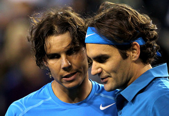 INDIAN WELLS, CA - MARCH 17:  Rafael Nadal of Spain congratulates Roger Federer of Switzerland after their match during the semifinals of the BNP Paribas Open at the Indian Wells Tennis Garden on March 17, 2012 in Indian Wells, California.  (Photo by Matt